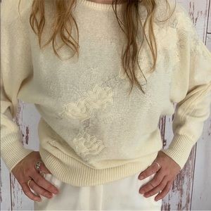 Vintage 80s 90s Angora Sweater Satin Appliqué